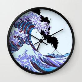 Great Wave Off Kanagawa Mount Fuji Eruption and Color Wall Clock