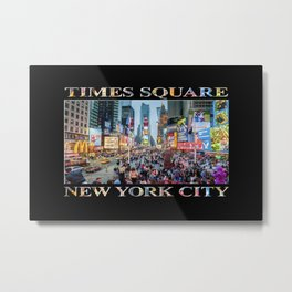 Times Square Tourists (on black) Metal Print