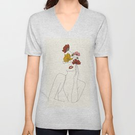 Colorful Thoughts Minimal Line Art Woman with Flowers Unisex V-Neck