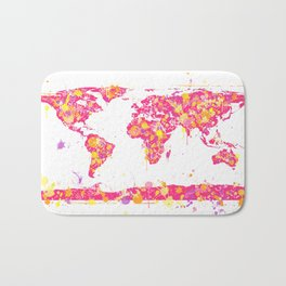 Graffiti World Map Bath Mat