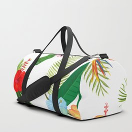 Tropical Flower and Leaves Pattern Duffle Bag