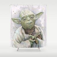 yoda Shower Curtains featuring Yoda  by Olechka