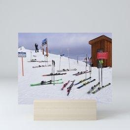 Skiers can't read ;o) Mini Art Print