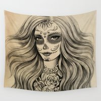 sugar skull Wall Tapestries featuring Sugar Skull by Vivian Lau