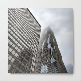 Aqua Tower Mist Metal Print