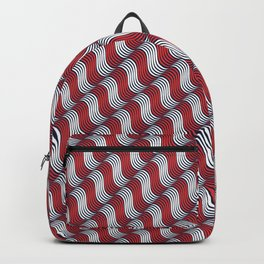 Japanese Wave Red White Symbols Seamless Patterns Backpack