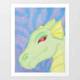 Bright Dragon in pastels Art Print
