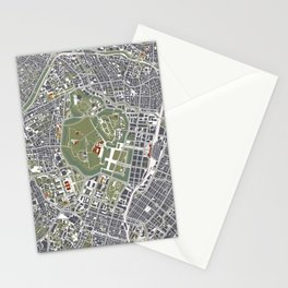 Tokyo city map engraving Stationery Cards