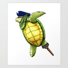 Pirate Sea Turtle Dab Viking Novelty Halloween Art Print
