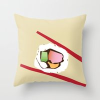 sushi Throw Pillows featuring Sushi by Nathan Rhoads