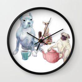 The pitbull pug and chi sat down for some tea Wall Clock
