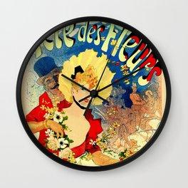 Flower festival 1890 by Jules Chéret Wall Clock
