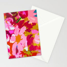 Abstracted Flower Painting in Hot Pink, red, spring green Stationery Cards