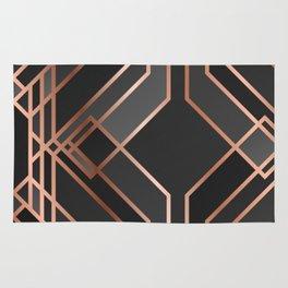 Art Deco Gold Grey Black Pattern Rug