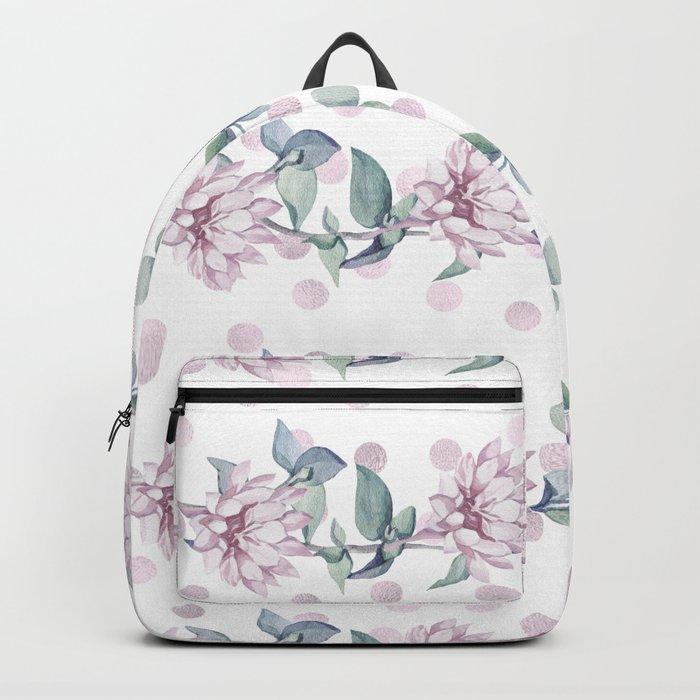 Rose Gold Roses + Polka Dots Backpack