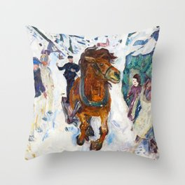 Galloping Horse by Edvard Munch Throw Pillow