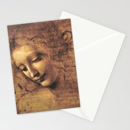 Head of a Woman - Leonardo Da Vinci Stationery Cards