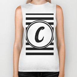 C Striped Monogram Letter Biker Tank