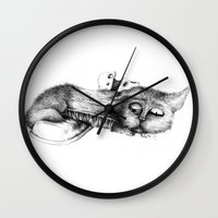 shoe Wall Clocks featuring shoe cat by Andreas Derebucha