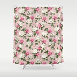 Vintage blush pink white hortensia floral illustration Shower Curtain