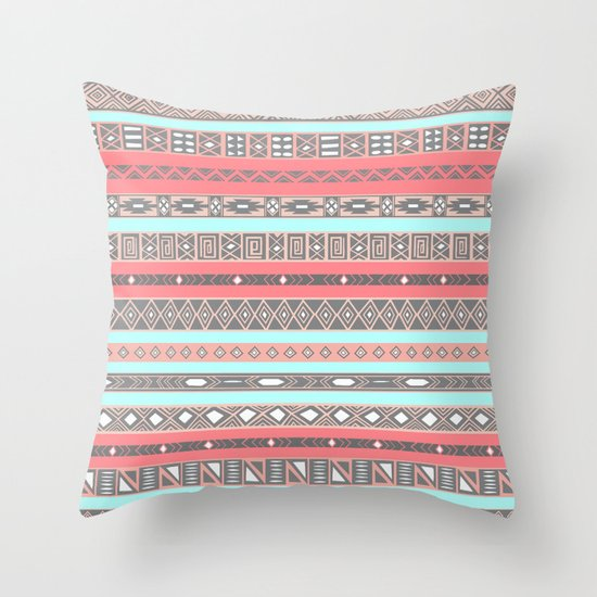 Blue Aztec Throw Pillows : Peach Rose Baby Blue Aztec Tribal Native Pattern Throw Pillow by RexLambo Society6
