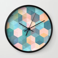 Child's Play 2 - hexagon pattern in soft blue, pink, peach & aqua Wall Clock