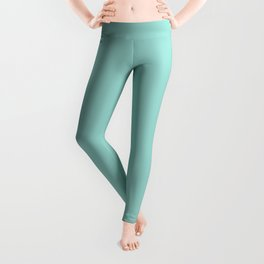Sherwin Williams Trending Colors of 2019 Blue Sky Pastel Aqua Blue / Aqua Green SW 0063 Solid Color Leggings