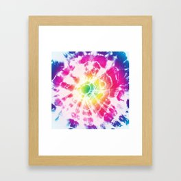 Tie-Dye Sunburst Rainbow Framed Art Print