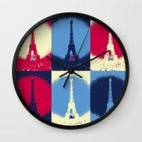 eiffel tower Wall Clocks featuring Eiffel Tower by Aloke Design
