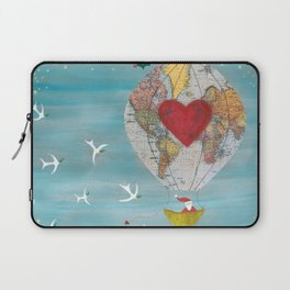 Christmas Santa Claus in a Hot Air Balloon for Peace Laptop Sleeve