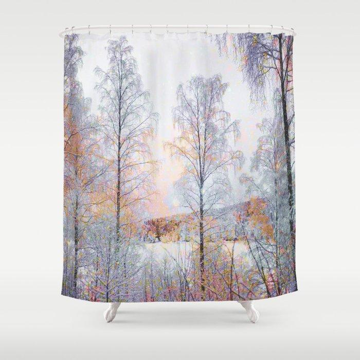 Winter In Norwegian Woods Shower Curtain