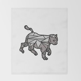 Geometric Cat and Lines Throw Blanket