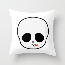 cute skull blowing kisses Throw Pillow