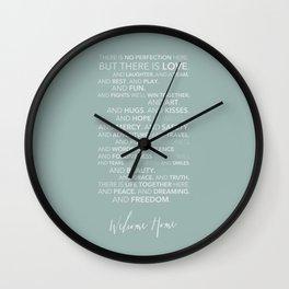 Family Manifesto (Teal) Wall Clock