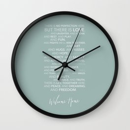 Family Manifesto (Teal) Wall Clock