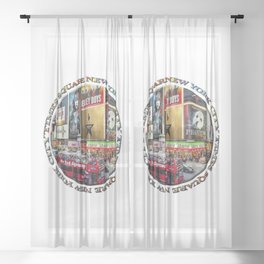 Times Square New York City (badge emblem on white) Sheer Curtain
