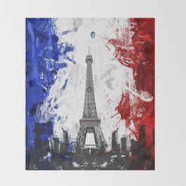Eiffel Tower Painting Abstract Throw Blanket