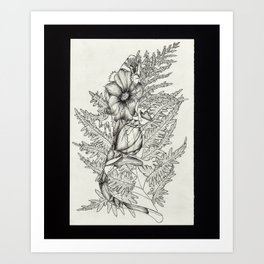 Crested Gecko with Fern and Flowers Art Print