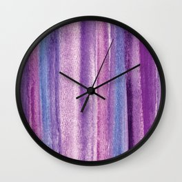 Purple Watercolor Stripes - Abstract Wall Clock