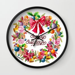 Christmas Wreath Painting Illustration Design Wall Clock