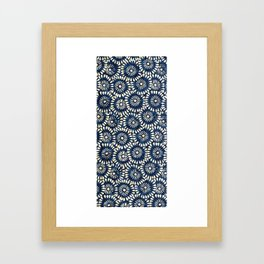 Blue and White Flower Pattern Framed Art Print
