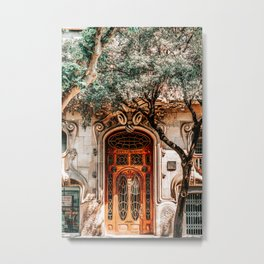 House Comalat Barcelona, Beautiful Door Entrance, Casa Comalat, Modernist Building in Barcelona, Architecture Urban City, City Travel Print Metal Print