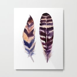 feather watercolor print Metal Print