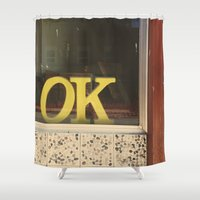 kim sy ok Shower Curtains featuring OK by Michelle & Chris Gerard