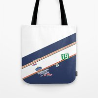 honda Tote Bags featuring Freddie Spencer 1985 Rothmans Honda by Krakenspirit