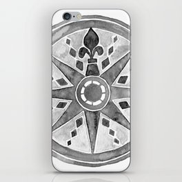 Watercolor Compass gray iPhone Skin