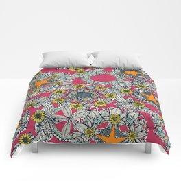 cirque fleur rose papaya star Comforters