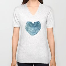Heart Graphic Watercolor Blue Unisex V-Neck