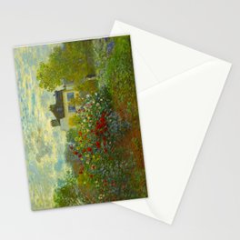 Claude Monet Impressionist Landscape Oil Painting A Corner of the Garden with Dahliass Stationery Cards