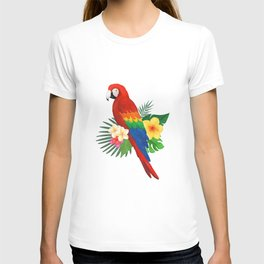 Tropical Macaw Floral Watercolor T-shirt